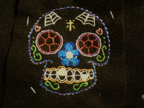 embroidered sugar skull1 by Miss-Holly-Horror