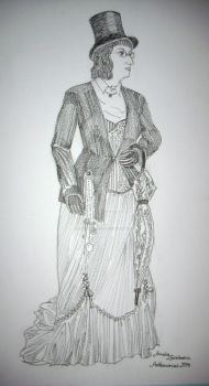 Steampunk lady with parasol and top hat