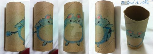 Marill on toilet paper roll. by BigJaa