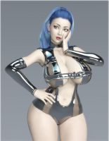 Space Age Busty Beauty 2 by Redrobot3D