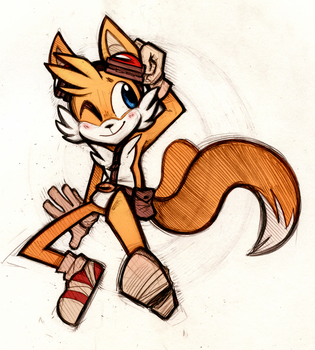 Twin-Tailed Fox by SuperflatPsychosis