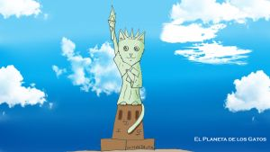 Gato estatua de la libertad by Catsofdeath