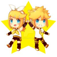 Rin and Len Kagamine by LauraXion