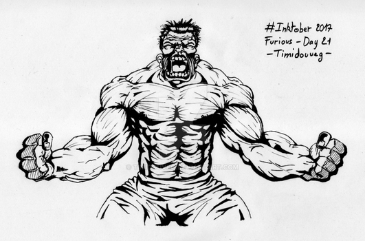 Inktober 2017 - 21 Furious by Timidouveg