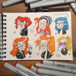 Agent Curiosa character facial variations sketches by Pykodelbi