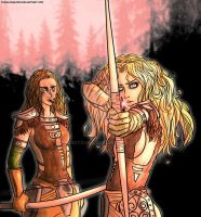 Aela The Huntress and Imandra by QuietDuna