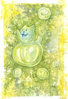 Cat on the bubble (green version) by Siriliya
