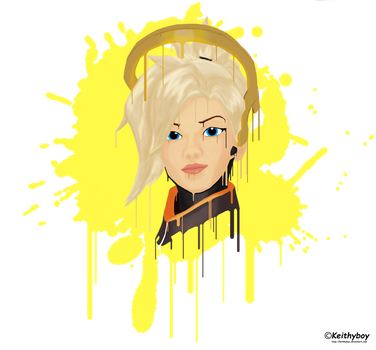 Mercy Overwatch - Paint - Shirt Design by Keithyboy