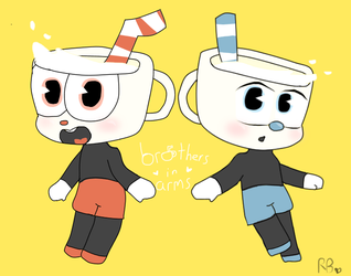 Brothers In Arms (Cuphead + Mugman Chibi) by Ramune-Kitsune