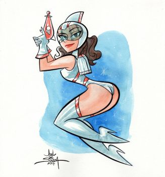 Pinup Watercolor Paintign #4 by jfsouzatoons