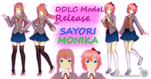 DDLC Model Release - Monika and Sayori by SeriousNorbo