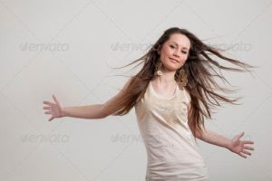 Portrait of Young Dancing Girl with Flying Hair by Ondrejvasak