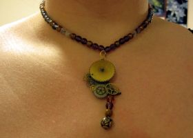 Purple rose necklace by Gothic-Enchantress