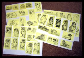 Owl Post-It Sketches by Cre8tivemarks
