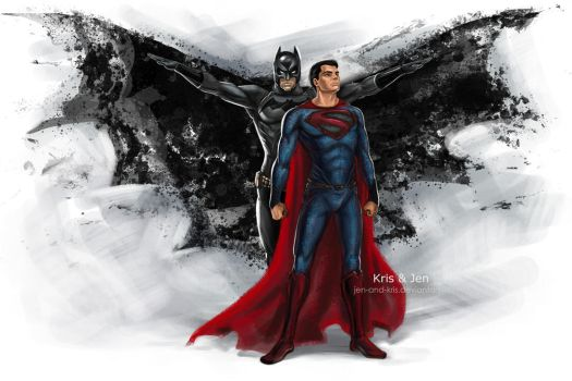 Batman and Superman by jen-and-kris