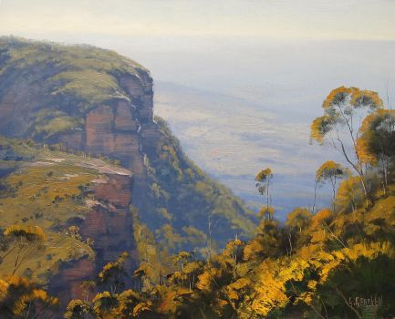 Hazy Cliffs Blue Mountains by artsaus