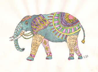Painted Elephant by 0bscure84