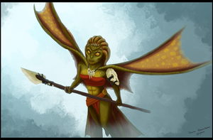 Alternate Concept Art- Lizard Fighter by AlynC