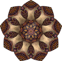 Purple, Orange and Stone Coloured Mandala by WelshPixie