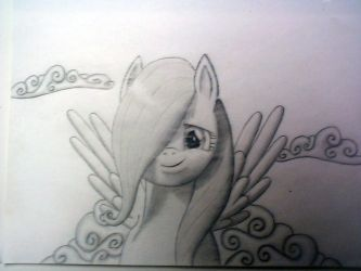fluttershy in the clouds by midnightfox1