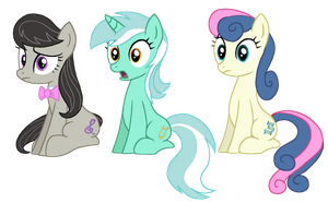 Octavia, Lyra, and Bon Bon Sitting by lonewolf3878