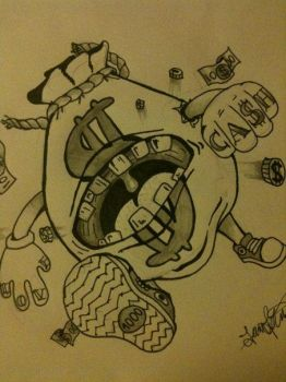 Moneybag monster Tattoo by Carbun