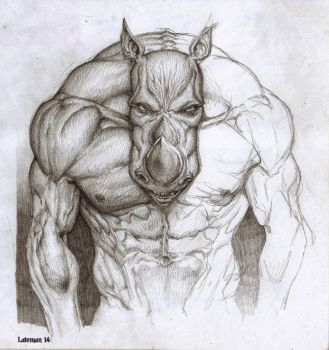 Pencil work 01 - Rino guy by theLateman