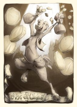 Super Punch Six of Pentacles by goosezilla