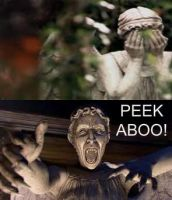 peekaboo with weeping angels by LoneWolfPunk