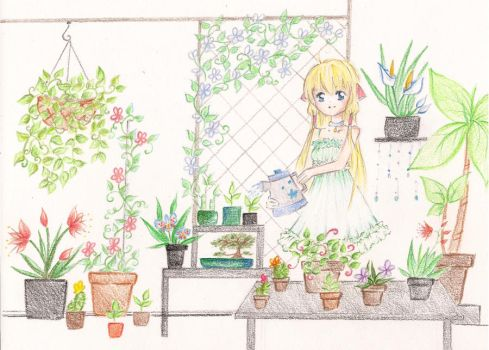Chobits: Garden by featheredwings