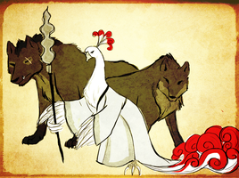 Lord Shen and his Wolves Okami style by Shaiger