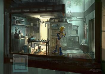 Cyberpunk. Otaku Place, Kitchen by dsorokin755