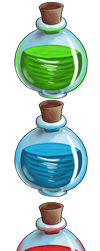 Red Blue Green Large Potions by AlishaVolkman