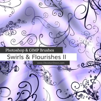 Swirls - Flourishes II Photoshop and GIMP Brushes by redheadstock
