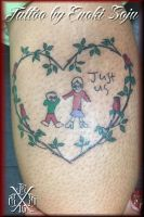 Roses Heart Vine and Kids Tattoo by Enoki Soju by enokisoju
