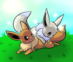 Eevees playing by Furreon
