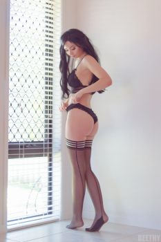 Amy - Black Lingerie by beethy