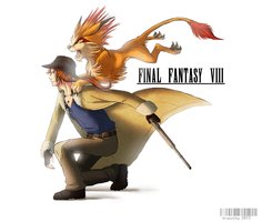 FF8: Irvine Kinneas and Moomba by Crazzity
