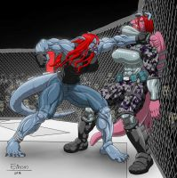 Commission redhead hoties in a cage fight by Einom