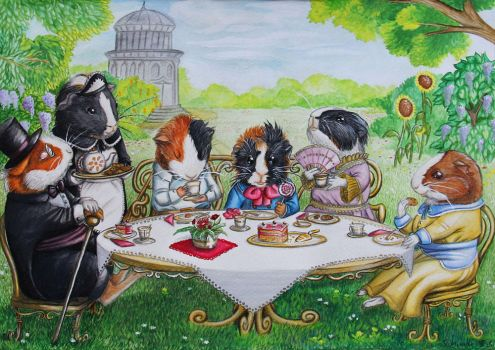 teatime with guinea pigs by Schiraki