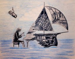 Pianist surreal pen, ink, color pencil drawing by Vitogoni