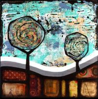 miXeD mediA abstRAcT lANdscApE by NellieWindmill