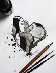 Gomez and Morticia Addams - DailySketch by RandomMumble