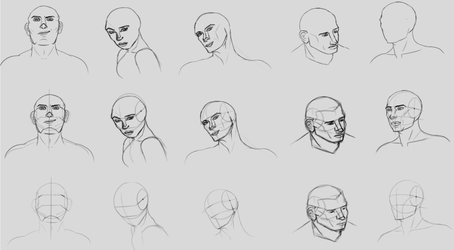 Practice sketches, human heads by Vixxiin