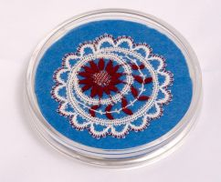 bobbin lace flower coaster by averil-hylton