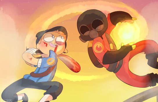 Scout vs Pyro by Puppiii