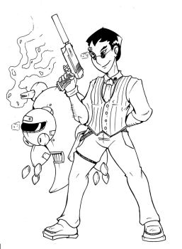 Man with a gun and a bot by The-Great-RKL