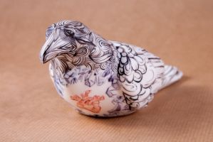 crystal heart porcelain crow-front by buraczek