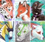 ACEO Cards: Fur, Scale, and Feather by MoonsongWolf