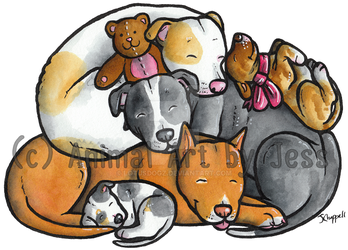 Pit bull terriers by lotusdogz